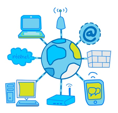 internet Global Network communication  Vector