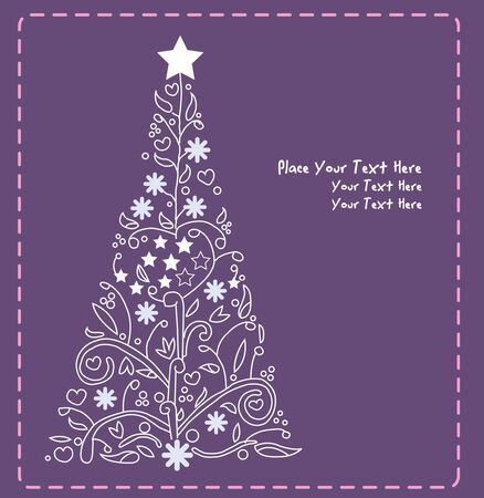 christmas tree vector purple green  Vector