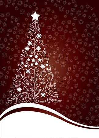 tree xmas floral red  Stock Vector - 11079518