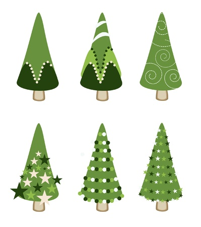 set of green tree xmas Vector