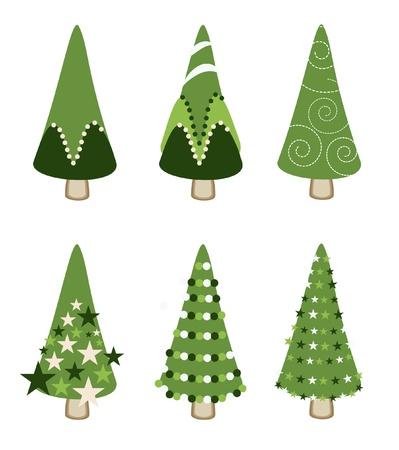 xmass: set of green tree xmas