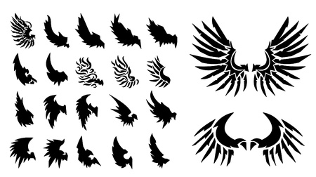 religious text: 22 set of Wings. Elements for design. Vector illustration.