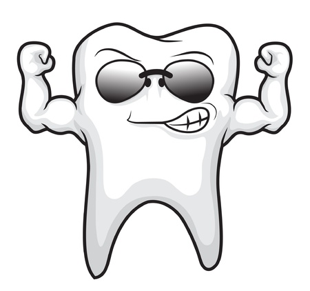 wash care symbol: tooth strong cartoon character
