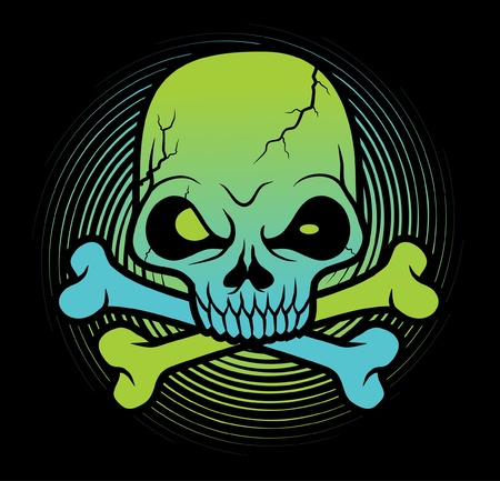 punk: green Skull head vector illustration