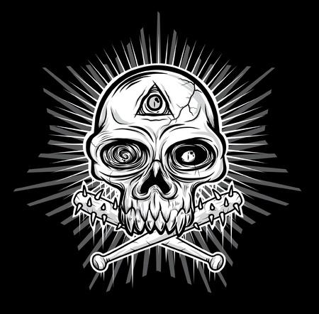 black white Skull head vector illustration  Stock Vector - 11079441