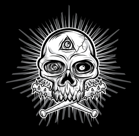 mortale: nero, bianco, testa di Skull illustrazione vettoriale Vettoriali