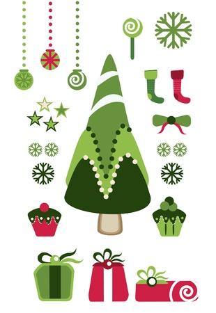 고립 된: 크리스마스 귀여운 요소 세트 일러스트