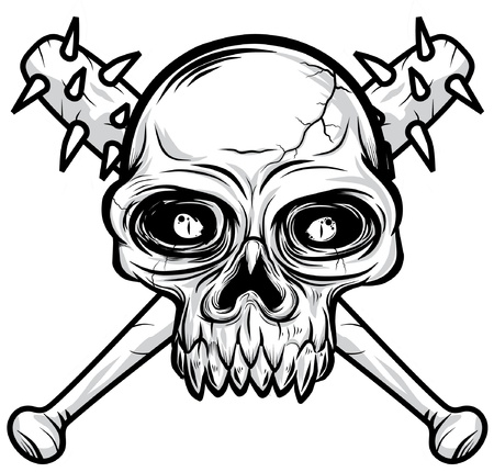 deadly danger sign: black white Skull head illustration