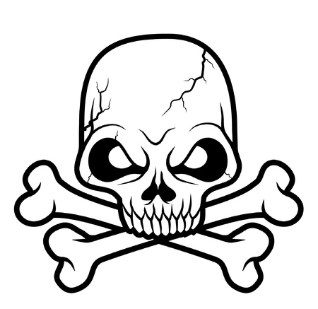 crossbones: black white Skull head vector illustration  Illustration
