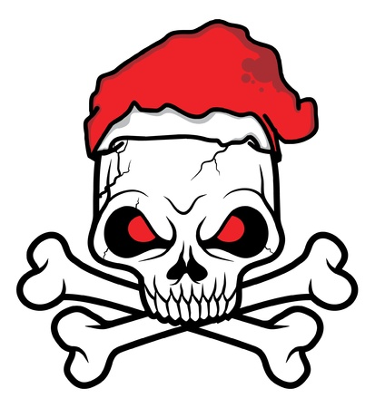 black white Santa Skull head vector illustration  Vector
