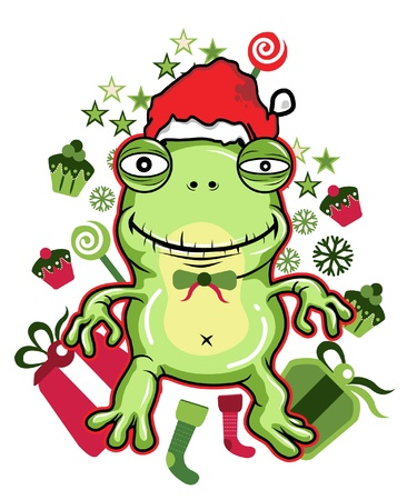 christmas frog: frog santa vector illustration