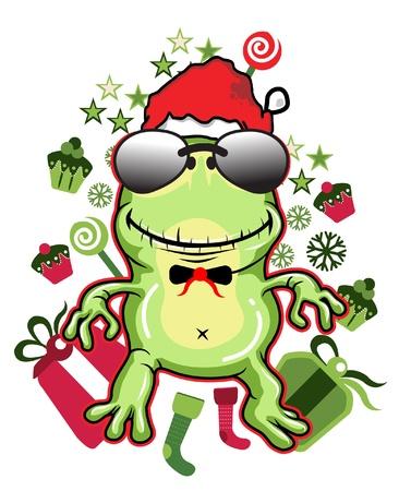christmas frog: Frog Santa glasses