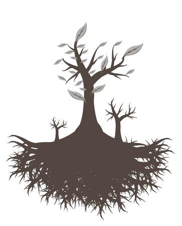 tree of life silhouette: old tree root  Illustration