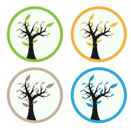 4 season tree  Vector