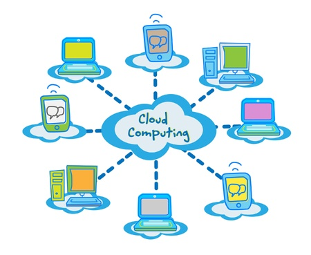 blue network: cloud computing concept client computers communicating