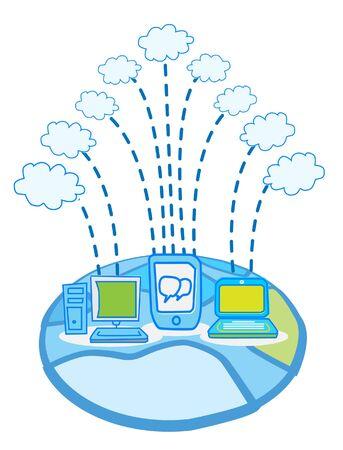 Global Data cloud computing vector  Vector