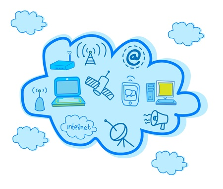 Cloud Computing And Global Telecommunication Vector  Vector
