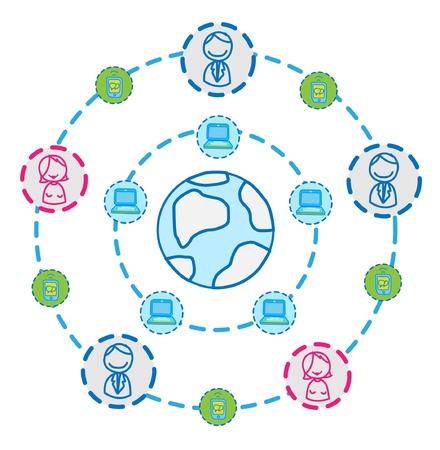 globe internet connecting vector Vector