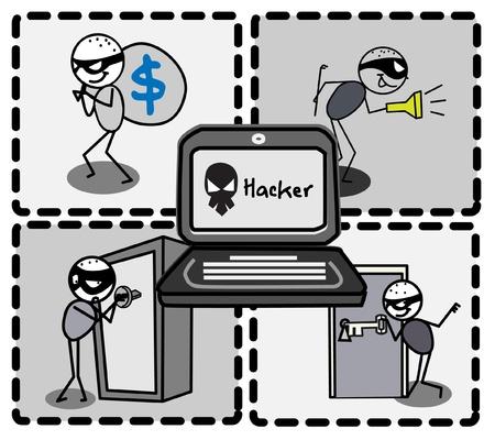computer hacker: ladro di hacker vettore