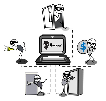 crimes: thief hacker vector  Illustration