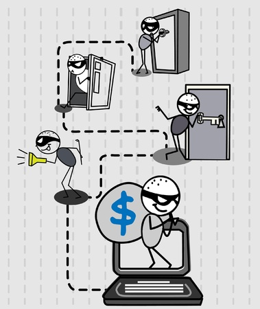 office theft: hacker thief money vector