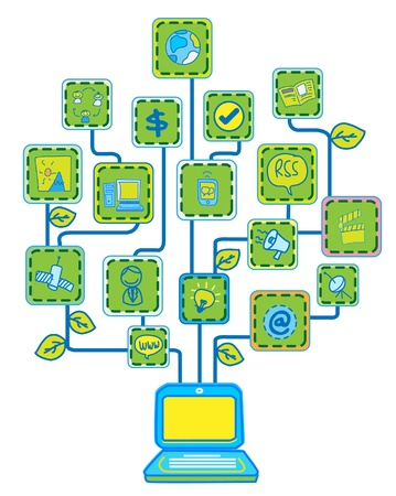 computer cartoon: Network Internet Tree Technology Communication vector