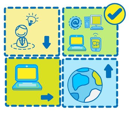 the internet: Imprenditore Sviluppare Tecnologia Idea Networking Vettoriali