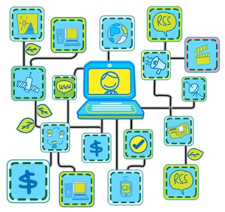 global networking: Vector de enlace de Internet Networking azul