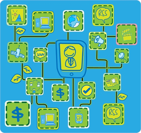 Blue bit Internet Networking link Green Ecology concept vector Vector