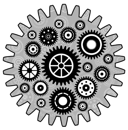 Black Cogwheel set Vector
