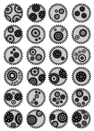 Set of 24 Gear mechanism Stock Vector - 11079523