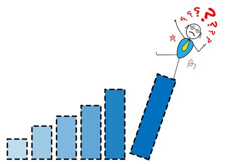 The businessman falling from top Chart  Vector