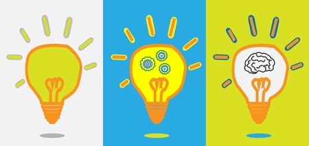 idea lamp + gear progress + smart brain  Vector