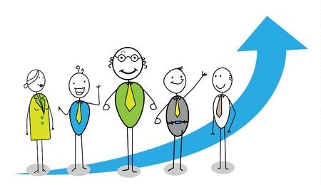 rises: teamwork up-chart together