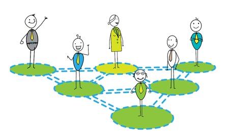 Businessman & woman networking Link Vektoros illusztráció