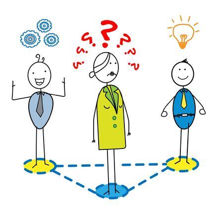 complex system: stress woman lead the good team  Illustration