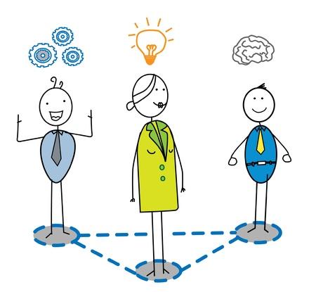 entrepreneurs: smart team with women leader  Illustration