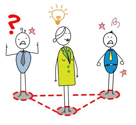 businesswoman idea leader around lead problem group  Vector