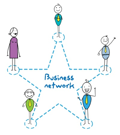 job recruitment: business network star sign man woman and senior  Illustration