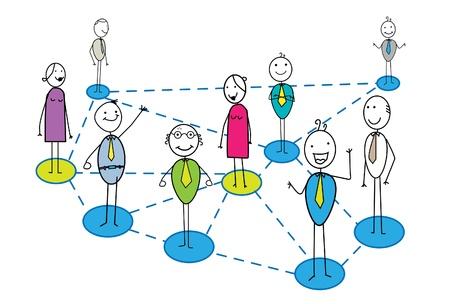 сеть: бизнес-сеть со многими бизнесмен и женщина