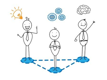 energy work: idea + good progress + Smart businessman team connection