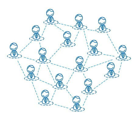 coordinated: man business team connected  Illustration
