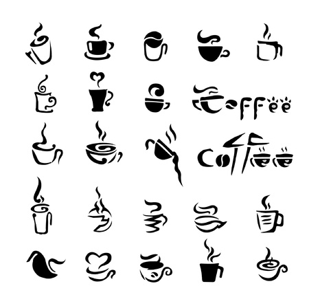coffee beans white background: coffee sign