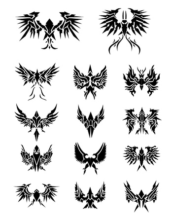 14 Set of eagle wings  Vector