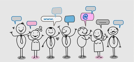 crowd happy people: businessman people social network