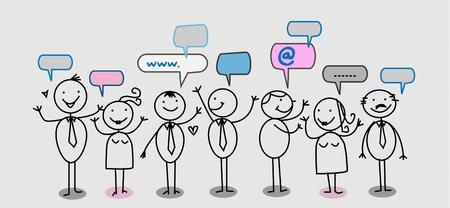 los hombre de negocios de redes sociales Ilustración de vector