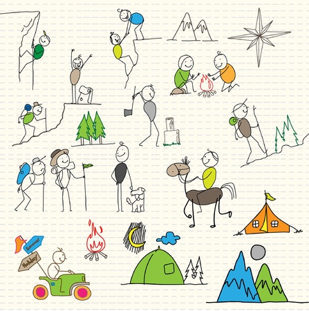 man hiking: sport holiday adventurer Illustration