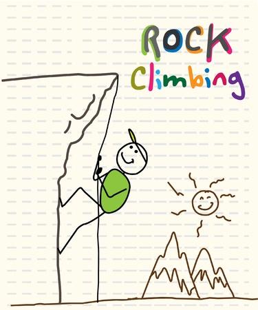 simple sky: rock climbing  Illustration