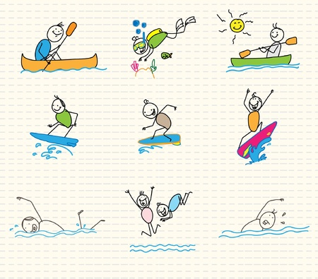 Hand drawn: water sports vector doodle  Illustration