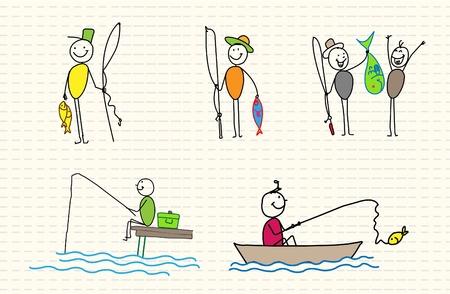 рыбаки: рыбак Иллюстрация